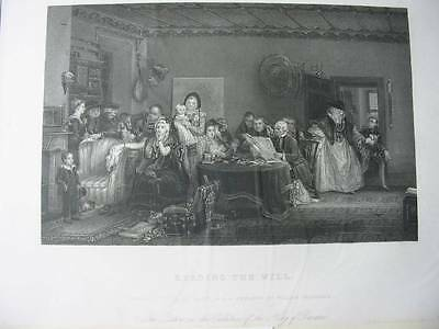 87408-Sir David Wilkie-Reading the Will-Notary-Notar-Stahlstich-engraving
