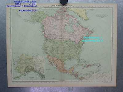 Nordamerika-North America-KARTE-MAP-48x35cm-Lithographie-Lithography