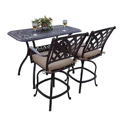 Darlee Ocean View Bronze-finished Cast Aluminum 3-Piece Bar Set with Sesame Seat