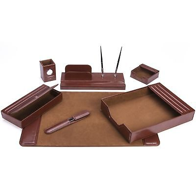 7-Piece Brown Leather Desk Set