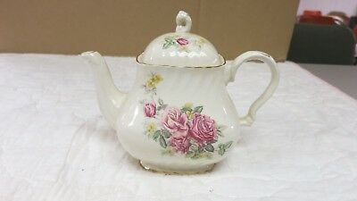 Crown Dorset Staffordshire England Teapot Bouquet Pink Roses Gold Accents