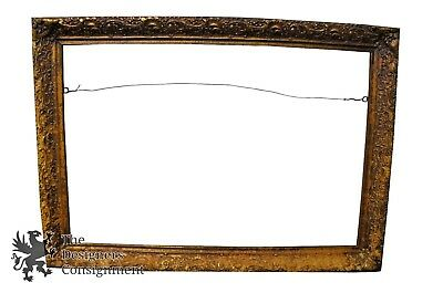 """Vintage Antiqued French Rectangular Picture Mirror Frame Ornate Fits 24"""" x 36"""""""