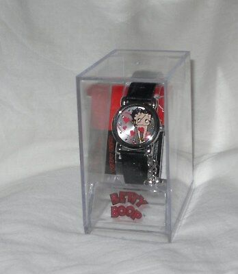 Betty Boop Wrist Watch Valentine Heart Charm Embossed Leather Band In Case New