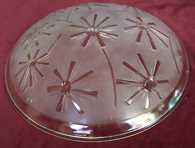Antique Art Deco French Pressed Glass Vasque, Ceiling Light By Degue Signed