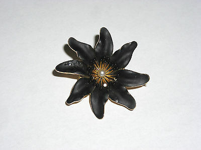 Amazing Art Nouveau Black Enamel Passion Flower Brooch Pendant  14K Yellow Gold