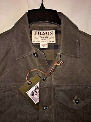 New With Tags Filson Made In Usa Wax Cotton Short Lined Cruiser Jacket Xs $325