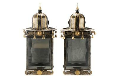 $2K Pair Wall Lantern Sconce Candle Holder Light Chinoiserie Pagoda Black Gold