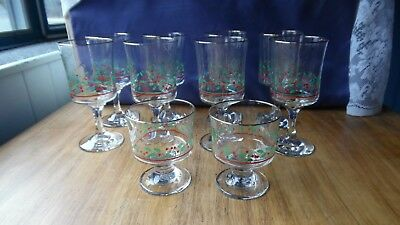 8 Arby's 1986 Christmas Holly Berry Goblet Wine Water Glasses + 2 Sherbert