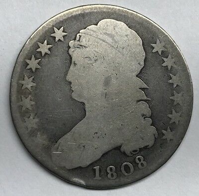 1808 United States Early Silver Capped Bust Half Dollar 50C