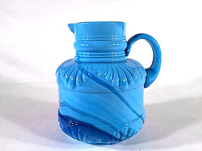 Atterbury Blue Slag Milk Glass Ribbed Shell Creamer Pitcher