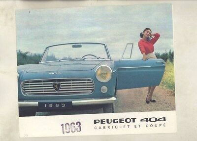 1963 Peugeot 404 Coupe & Cabriolet Pininfarina Brochure French wy9587