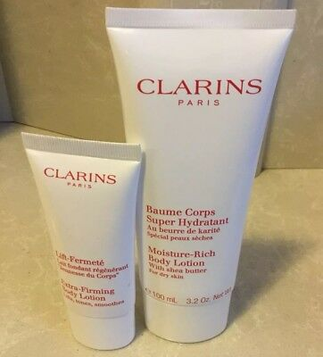 **CLARINS Moisture Rich Body Lotion 100ml & Extra Firming Body Lotion 30ml NEW