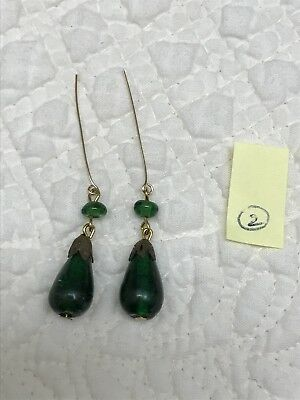 Vintage Emerald Green Glass Earrings 4 Antique French German Bisque Doll #2