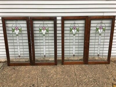 "2 of 4 Beautiful Antique Stained Leaded Glass Cabinet Doors / Window 42"" 22"