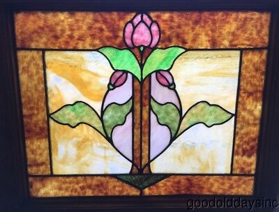 "Antique 1920's Chicago Stained Leaded Glass Window Great Glass! 24"" x 21"""