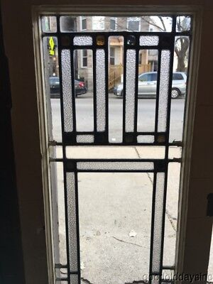 "Antique Leaded Glass Door / Window 45"" by 14"" Circa 1920 Prairie Style"