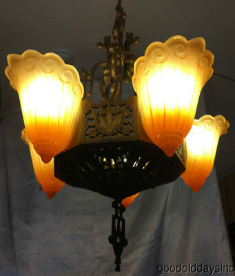 Antique Art Deco 5 Light Fixture chandelier circa 1925