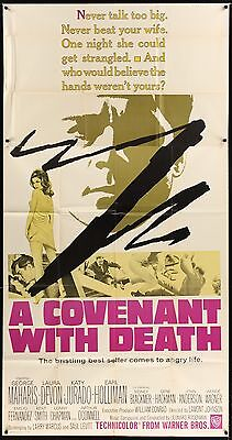 """COVENANT WITH DEATH 1967 41"""" x 81"""" US  3 SHEET MOVIE POSTER George Maharis"""