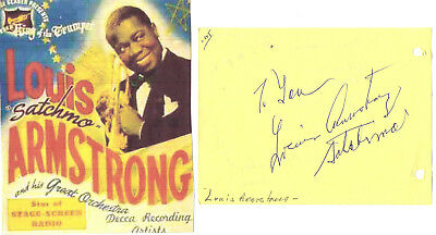 Louie Armstrong ..vintage Hand Signed Album Page Adding Satchimo/ Picture..