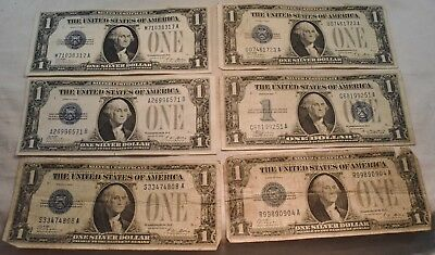 Lot of (6) Funny Back $1 Silver Certificates, Scarce Type, 2 Higher Grade Notes