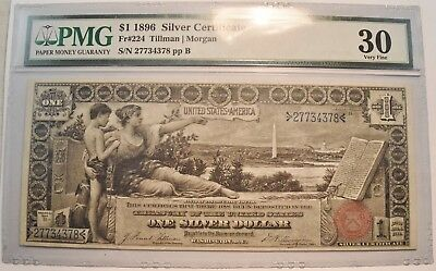 1896 $1 PMG Very Fine VF30 Educational Series Silver Certificate One Dollar Note