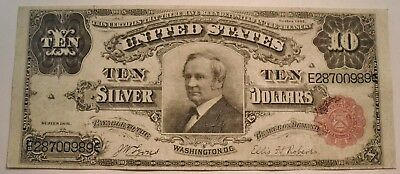 1891 $10 Tombstone Silver Certificate, Middle to Higher Grade Note, Ten Dollar
