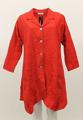 0a61556d251f1 Transparente Women s Plus Size Crinkled Notched Collar Buttoned Shirt Jacket  Red