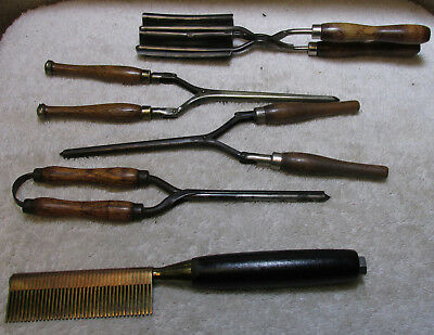 4 Antique  Hair Curling Irons And 1 Unique Brass Comb - Must See !!!