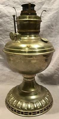 Vintage Antique Nickel-Plated Kerosen Lamp Ornate Royal P&a Made In Us America
