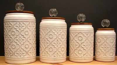 Old World Style 4pc Kitchen Ceramic Canister Set w/ Glass Finial Wood Lid Seals