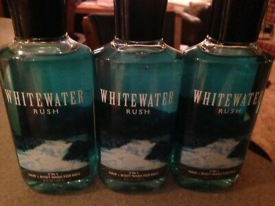3 Bath & and Body Works WHITEWATER RUSH for Men 2 in 1 Hair Body Wash Shower Gel