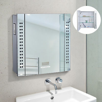 Bathroom Mirror Cabinet Led Light Up Shaver Socket Bluetooth Touch
