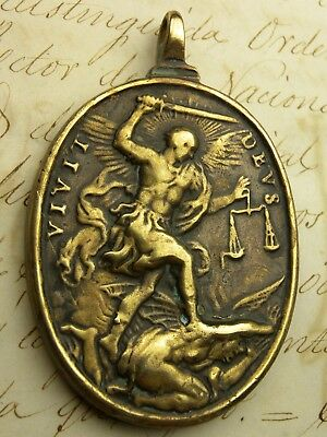 RARE Antique Spanish Colonial Catholic Immaculate Conception Saint Michael Medal