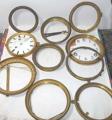 Vintage Clock Parts Or Repair Lot #10 -  Dials,  Brass Face Rings,  +