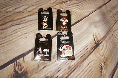 New Disney Mickey and Minnie I Love You Trading Pin Set Lot of 4