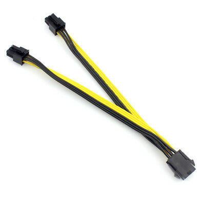 20cm 18AWG PCI-E Dual 6pin Male to 6pin Male PCI Express Video Card Power Cable