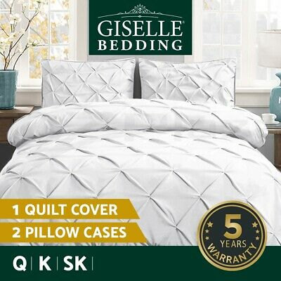 Giselle Bedding Queen Quilt Cover Set Duvet Doona Sets King Size Diamond White