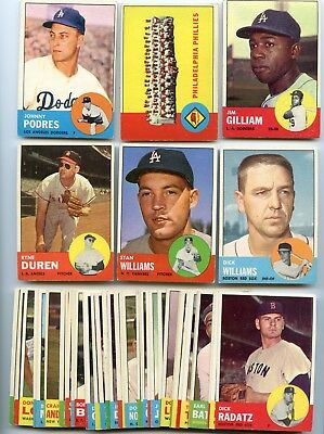 Lot Of (52) Different 1963 Topps Baseball Cards, Ex+/nm Condition, Very Nice !!!