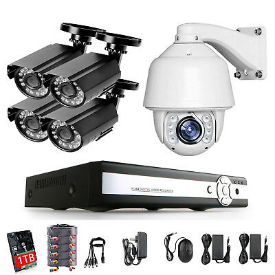 30X PTZ 8CH 5IN1 DVR Digital Video Recorder Output Security Camera System IR 1T