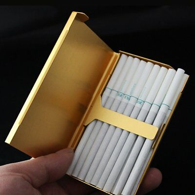 Elegant Thin Slim Aluminum Wiredrawing 20 Cigarette Case Box Holder Gold XRAU