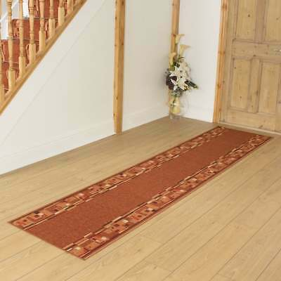 Bombay Terracotta - Hallway Carpet Runner Rug Mat Long Hall Anti Non Slip Back