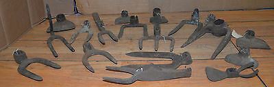 18 pc antique blacksmith forged cultivator tool lot farm garden mining early