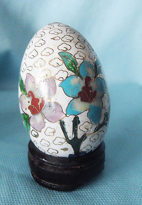 Vintage Whte Cloisonne Egg Decorative Collectible with Wooden Stand and Box