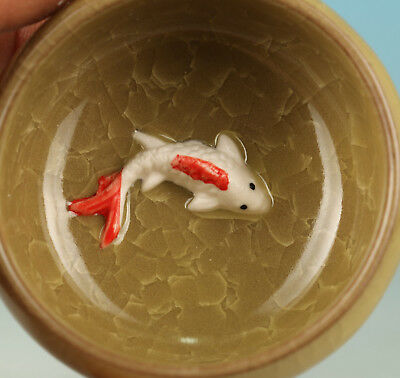 Chinese Porcelain Handmade Carved Fish Statue Tea Cup Bowl