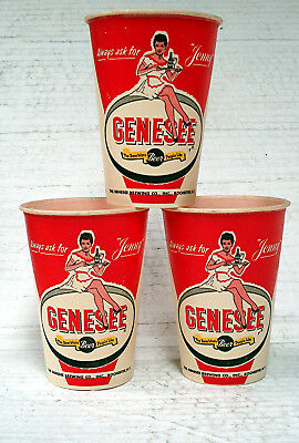"(3) Genesee Beer - Rochester, Ny - Wax Cups - Featuring ""jenny"" - Unused"