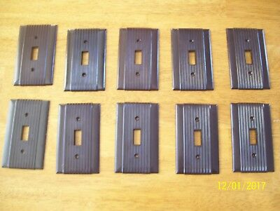 lot of 10 Vintage UNILINE Ribbed  Switch Plate Cover Brown Bakelite Deco