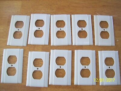 lot of 10 Vintage UNILINE Ribbed  Switch Plate Cover IVORY Bakelite Deco