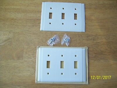 lot of 2 triple Vintage UNILINE Ribbed  Switch Plate Cover IVORY Bakelite Deco