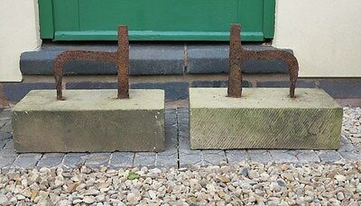Pair of Wrought Iron Boot Scrapers on Stone Bases - Shoe Garden Ornament