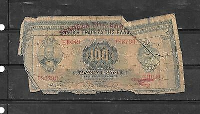 GREECE GREEK #98a 1927 AG CIRC 100 DRACHMAI OVERPRINT BANKNOTE PAPER MONEY